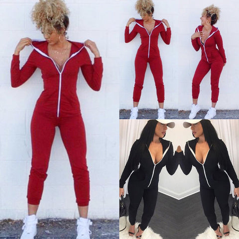 Image of Women Sport Suit Bodysuit Long Sleeve Zipper Hooded Jumpsuits Playsuit