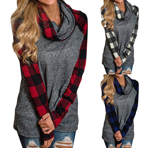 Image of Womens Turtleneck Tops Plaid Shirts Tunic Long Sleeve Pullover Sweatshirt