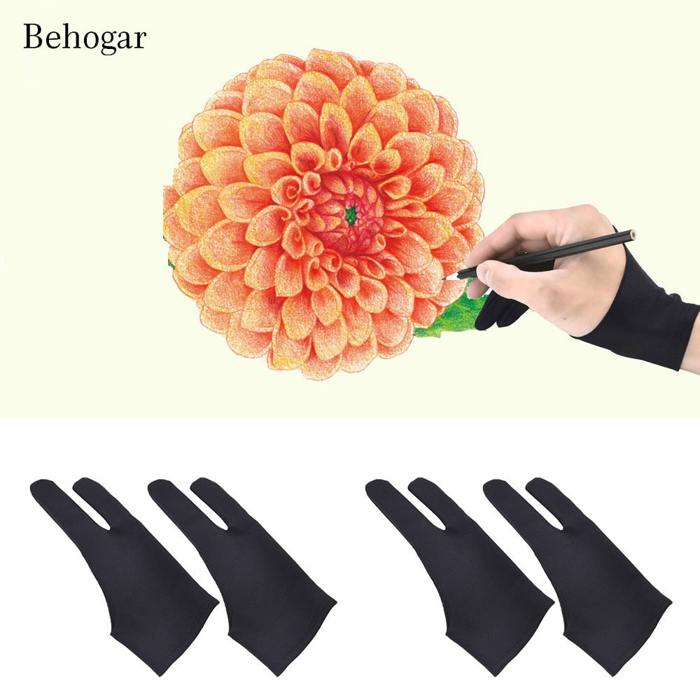 Behogar 4Pc Artist Gloves 2-fingers Tablet Anti-fouling Drawing Gloves for Graphic Tablet Art Creation Display iPad Pro Pencil