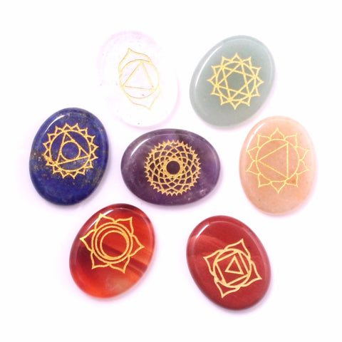 Image of 7 Chakra Reiki Healing Yoga Meditation Balance Kit Polished Oval Engraved Stones Chakras Holistic Health Care Palm Therapy Set