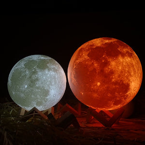 Ship From Ru Homes Rechargeable 3D Print Moon Lamp 2 Color Change Switch