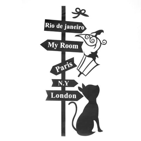 Cute Nordic Style Street Lights Signs Cat Wall Sticker