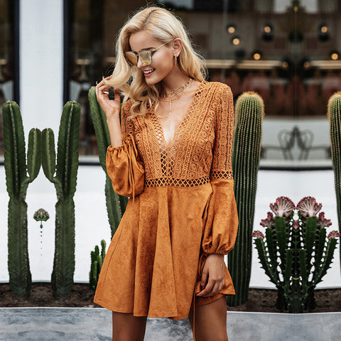 Simplee Sexy lace up v neck suede lace dress women Hollow out flare