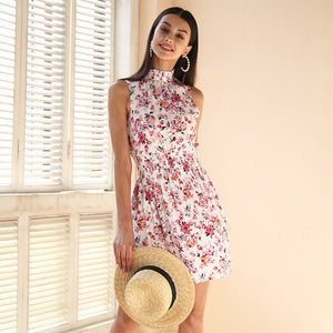 Simplee Sleeveless floral print summer dress women Elastic