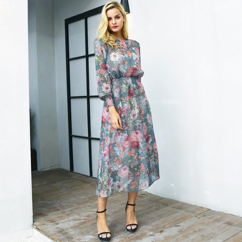 Simplee Elegant floral print long dress women two piece maxi chiffon dress