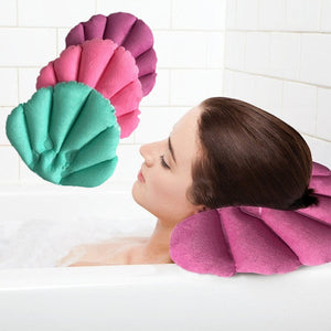SOLEDI Soft Bathroom Pillow Home Comfortable Spa Inflatable Bath Cups Shell Shaped Neck Bathtub Cushion Bathroom Accessories