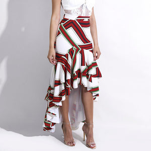 Glamaker White irregular ruffle long skirt Women autumn high waist sexy skirt Party club