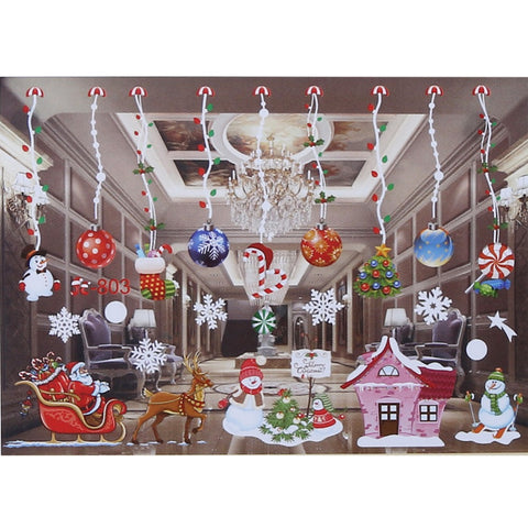 Image of Christmas Window Glass Wall Stickers Santa Claus Snowman