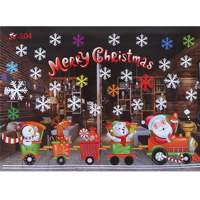 Christmas Window Glass Wall Stickers Santa Claus Snowman