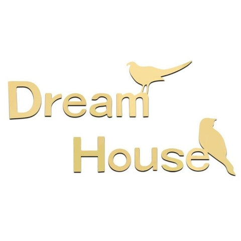 Dream House Letter Removable Self Adhesive Wall Stickers Decal Bedroom