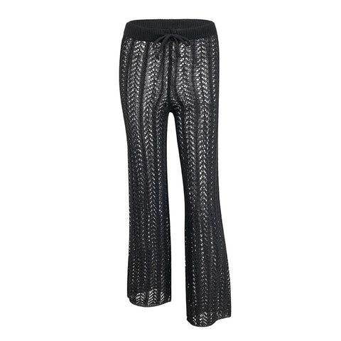 Glamaker Knitted hollow out women pants capris Women bodycon casual pants bottoms