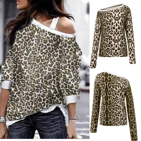 Womens Leopard Long Sleeve Pullover Sweatshirts Loose Fit Tops Blouses