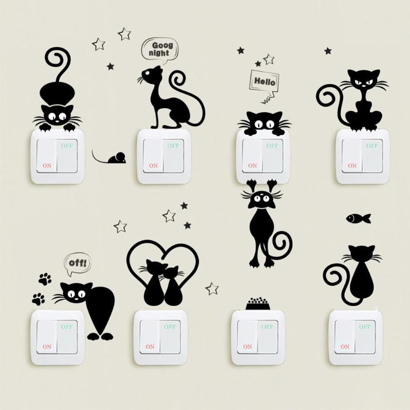 Cartoon Cat Switch Phone Wall Stickers for Kids Rooms DIY Home Decoration