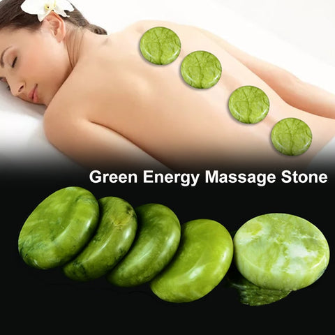 Natural Energy Massage Hot Stone Rock Green Jade SPA Body Massager Reiki Healing Meditation Pain Relief Health Care