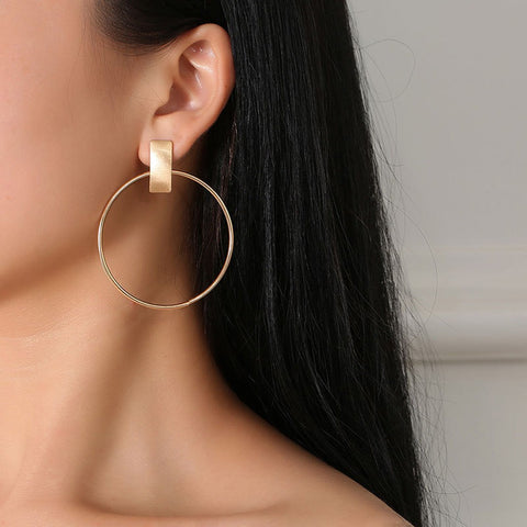 Image of Minimalist Big Circle Round Earrings for Women Elegant Silver Color Geometric St