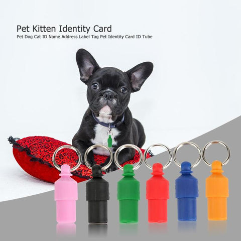 Image of Pet Dog Cat Address Label Barrel Storage Tube Silver Identification Card Pet Tube Contains Important Emergency Information