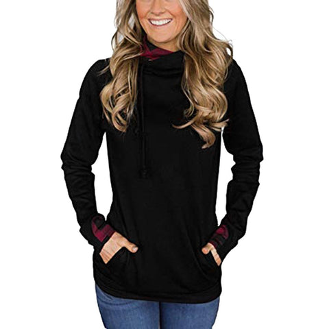 Image of Women Oblique Zipper Drawstring Pure Color Hooded Caps Sweatshirt Pullover Tops