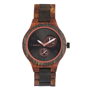 Men Fashion Wood Band Round Analog Pointer Easy To Read Quartz Wrist Watch Bracelet Complete Schedule Bangle