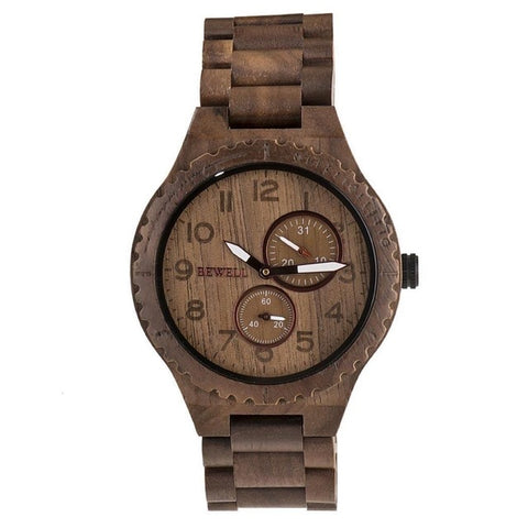 Image of Men Fashion Wood Band Round Analog Pointer Easy To Read Quartz Wrist Watch Bracelet Complete Schedule Bangle