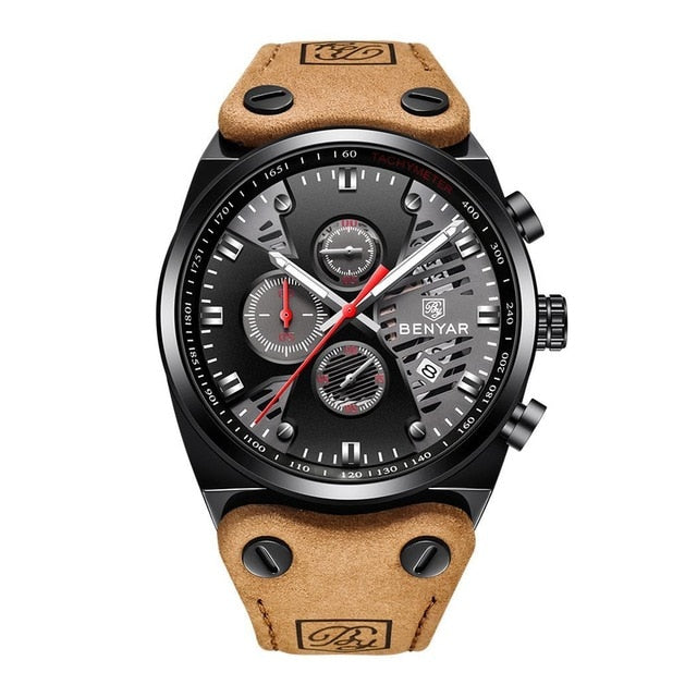 Men Fashion Casual Multifunctional Round Dial Quartz Wrist Luminous, Calendar, Hours/Minutes/Seconds Watch