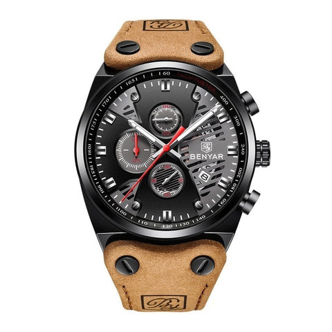 Image of Men Fashion Casual Multifunctional Round Dial Quartz Wrist Luminous, Calendar, Hours/Minutes/Seconds Watch