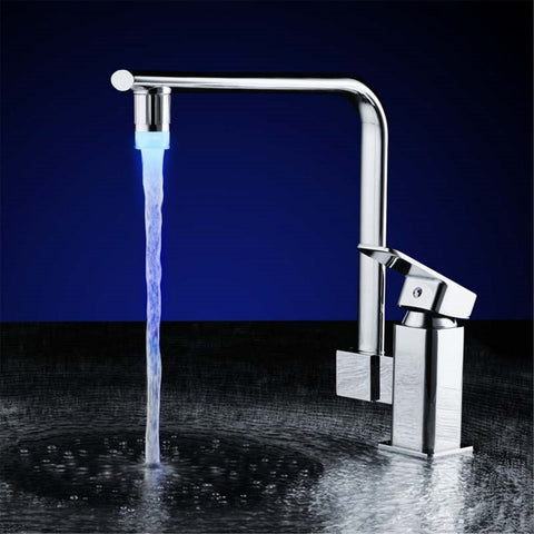 3 Colors NO Battery LED Water Faucet Tap Heads Glow LED Water Faucet Glow Temperature Sensor Home Kitchen Tap Bathroom Nozzle
