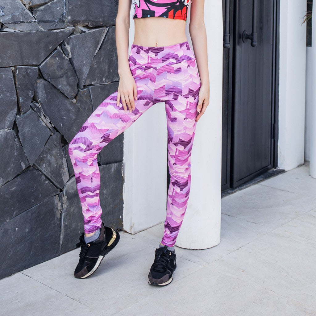 Ladies'Yoga Printed Fitness Exercise Body-building Exercise Bottom Pants