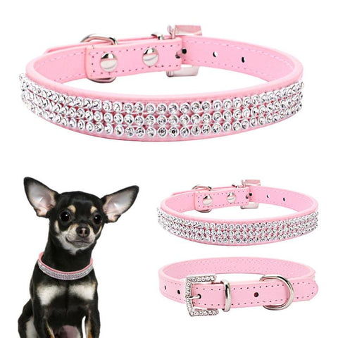 Image of Rhinestone Puppy Dog Collars Adjustable Necklace Leather Bowknot Collar for Small Medium Dogs Kitten Cat Products
