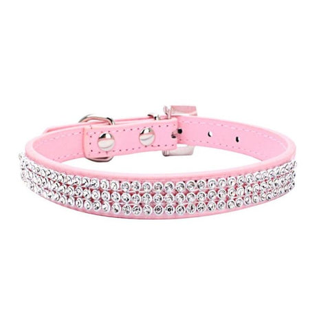 Rhinestone Puppy Dog Collars Adjustable Necklace Leather Bowknot Collar for Small Medium Dogs Kitten Cat Products
