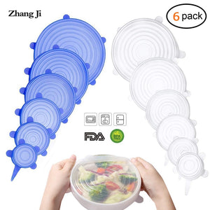Zhangji 6 Pack Silicone Stretch Lids Durable Reusable Airtight Food Wrap Covers Fits All Sizes and Shapes of Containers