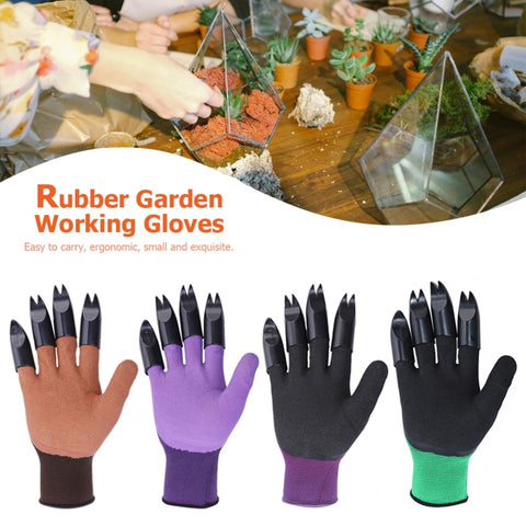 Image of Garden Gloves Quick Easy to Dig Rubber Gloves For Garden Digging Planting With 4 ABS Plastic Claws