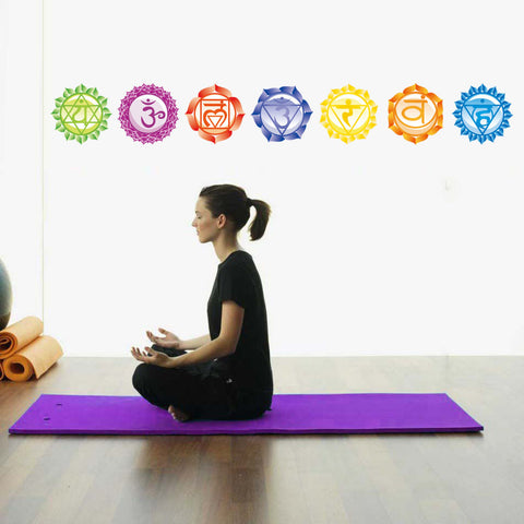Image of Chakras Vinyl Stickers (set of 7 pieces)- Health Aum Meditation Yoga Om Meditation Symbol Art Wall Decals home decoration