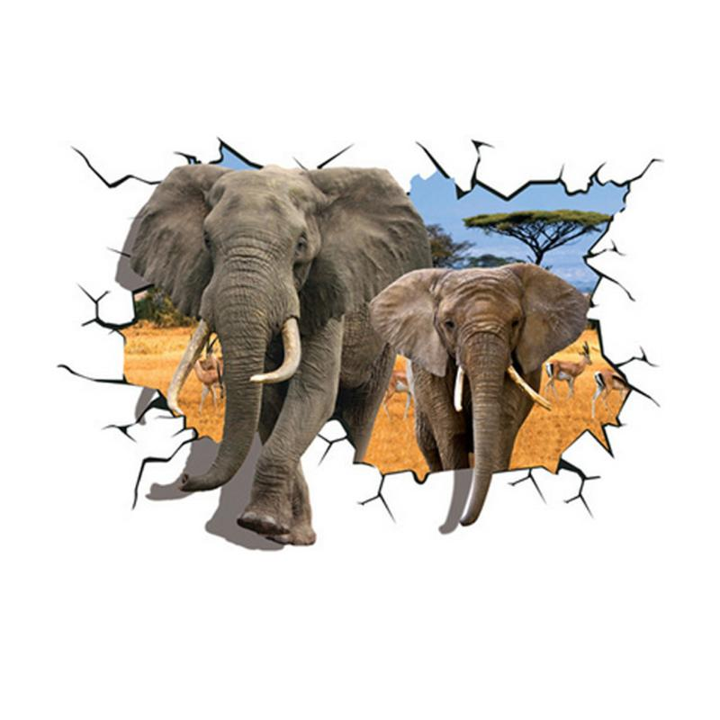 3D Elephants Wall Stickers Home Decor Sticker for Kids Rooms Animal Poster