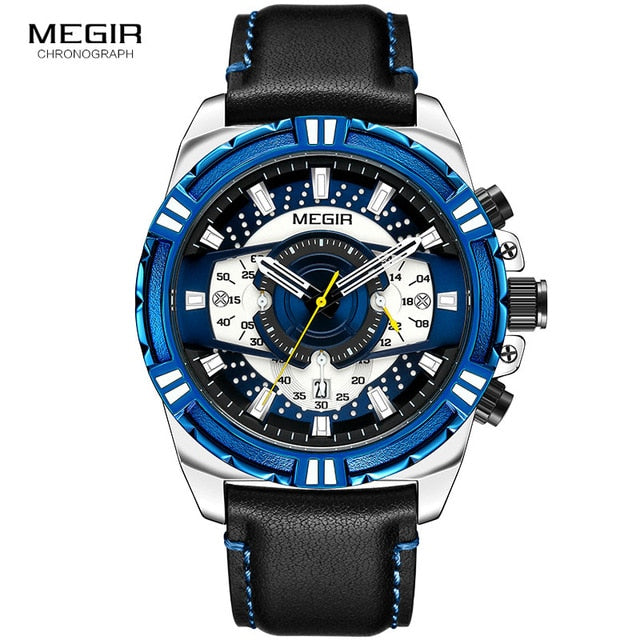 Leather Punk Date Quartz Men Watch Reloje Creative Male Watches Mens Luxury Brand Waterproof Sport Clock Megir Relogio Masculino