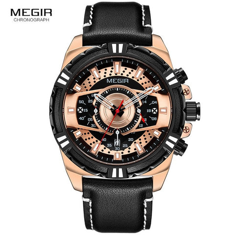 Image of Leather Punk Date Quartz Men Watch Reloje Creative Male Watches Mens Luxury Brand Waterproof Sport Clock Megir Relogio Masculino