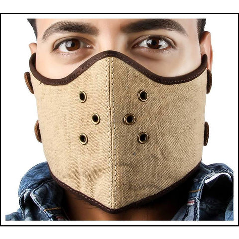 CANVAS FACE MASK DARK KHAKI