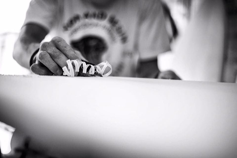 Backyard Surfboard Shaper, MitchClarkShapes, of Newquay Cornwall chats and rides