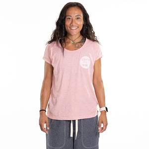 Stamp Round Canyon Pink Rolled Sleeved Slub T
