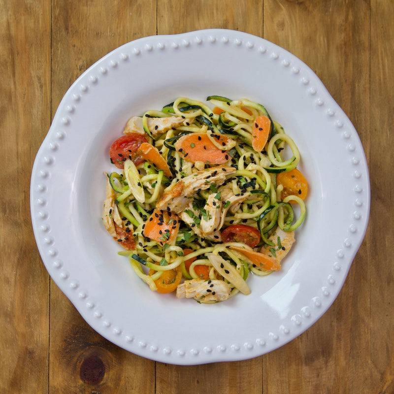 Thai Chicken Zoodle Salad - Gluten Free - Serving for one shown, each order includes two servings