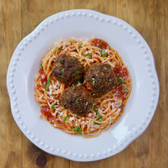 Meatballs with Pasta - Serving for one shown, each order includes two servings