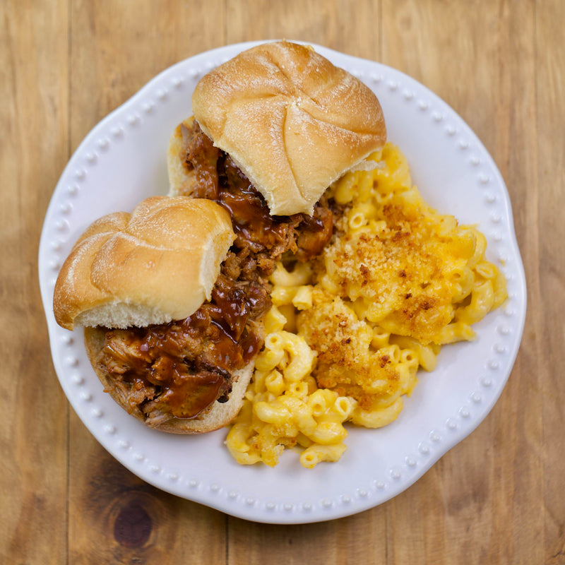 Pulled Pork with Mac and Cheese - Serving for one shown, each order includes two servings