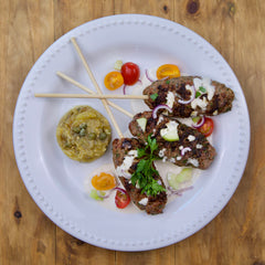Lamb Kofta with Roasted Eggplant - Gluten Free - Serving for one shown, each order includes two servings