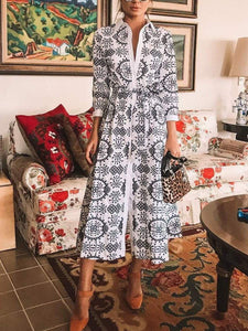 Sexy White Long Sleeves Floral Print Maxi Dress 57a3d083e