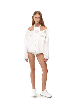 WHITE DENIM JACKET WITH CUT