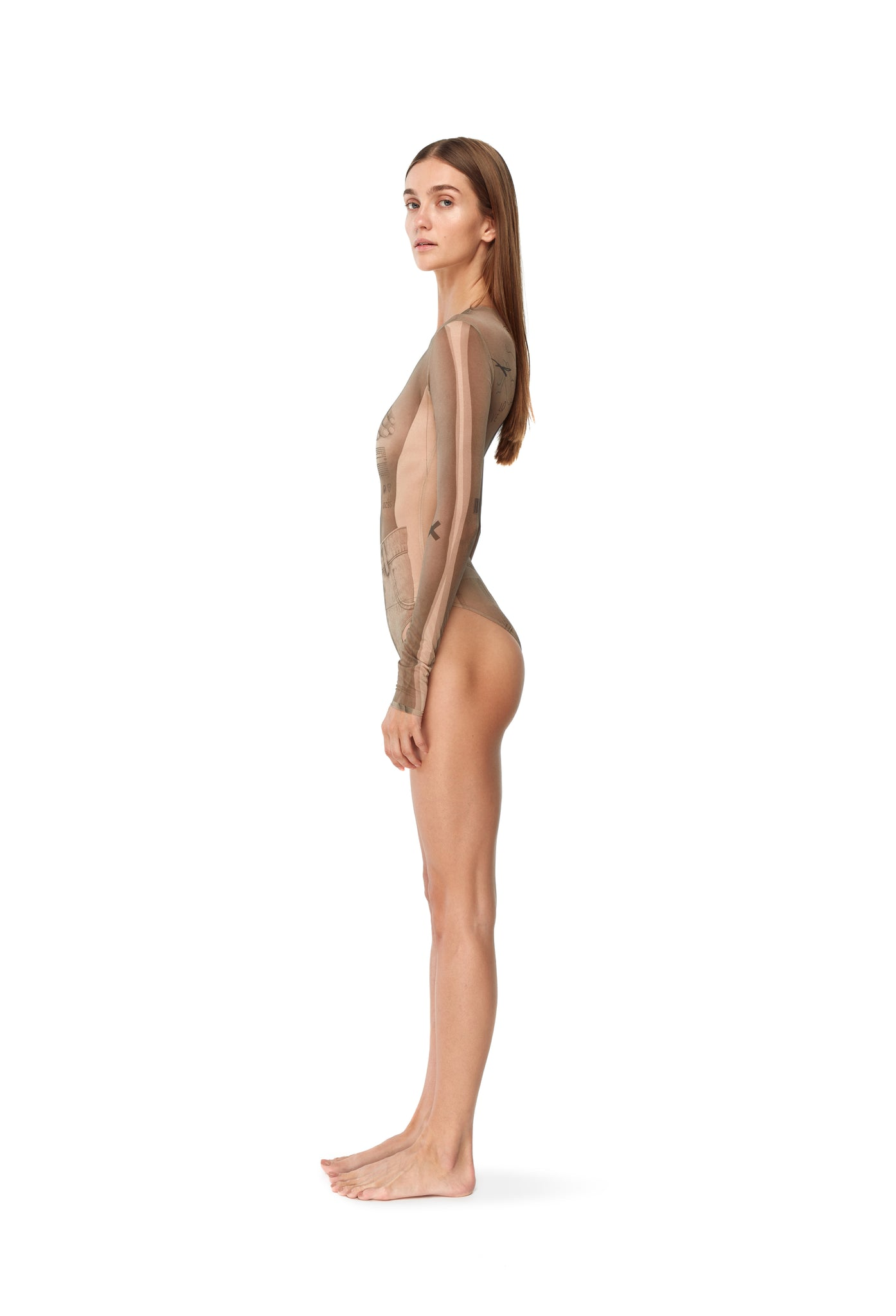 "MESH BODYSUIT ""COLLAGE"" BIEGE"