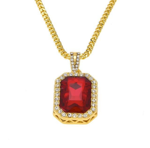 Gold Iced Rhinestone Crystal Gem Necklace - Gold Red