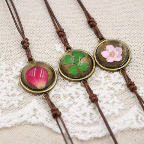 Handmade Cherry Flowers Charm Bracelets For Women