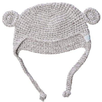 Beba Bean Accessories Grey Crochet Bear Toque