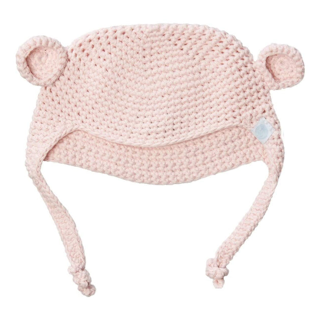 Beba Bean Accessories Pink Crochet Bear Toque