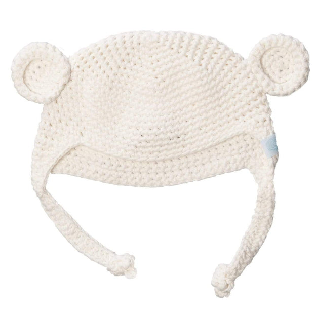 Beba Bean Accessories Ivory Crochet Bear Toque
